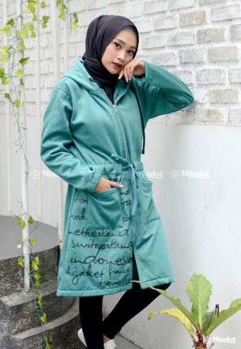 Jaket Muslimah Hijacket Urbanashion turquois Model Jaket Wanita Terbaru 37bb9bf68f